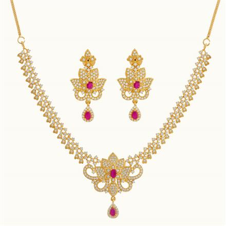 50784 CZ Classic Necklace with gold plating