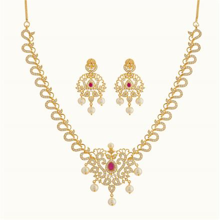 50785 CZ Classic Necklace with gold plating
