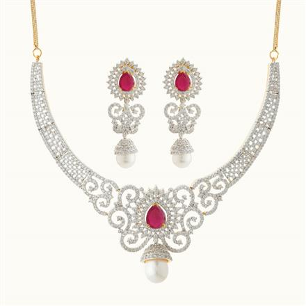 50789 CZ Classic Necklace with 2 tone plating