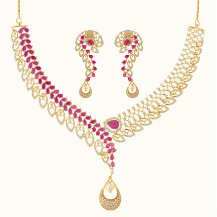 50792 CZ Classic Necklace with gold plating