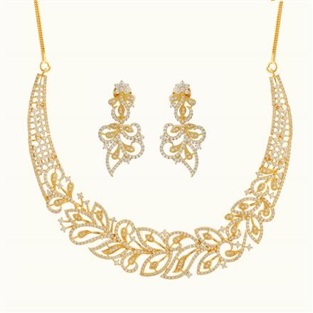 50793 CZ Classic Necklace with gold plating