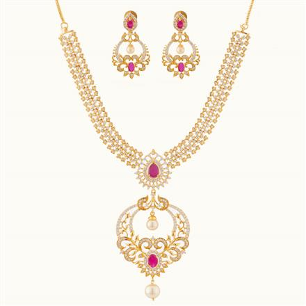 50795 CZ Classic Necklace with gold plating
