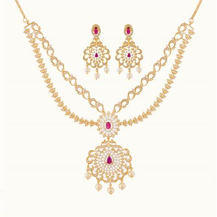 50796 CZ Classic Necklace with gold plating