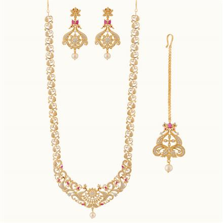 50797 CZ Long Necklace with gold plating