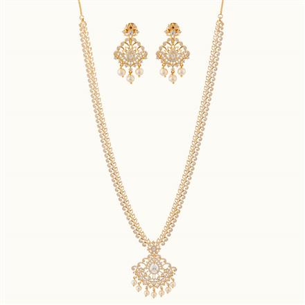 50798 CZ Long Necklace with gold plating