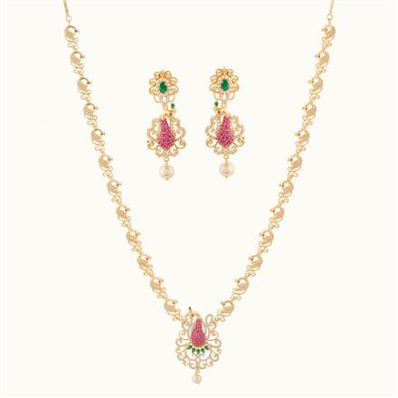 50799 CZ Peacock Necklace with gold plating