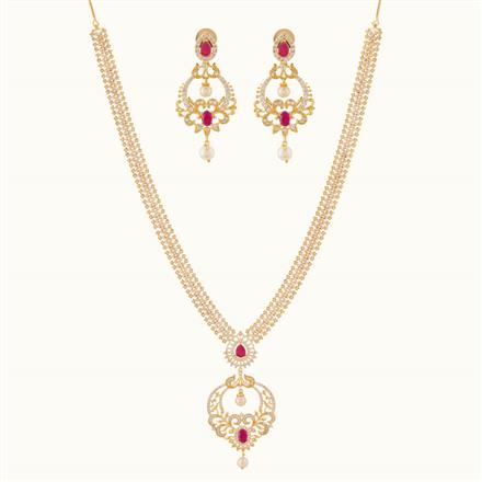 50800 CZ Long Necklace with gold plating