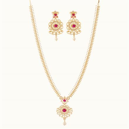 50801 CZ Long Necklace with gold plating