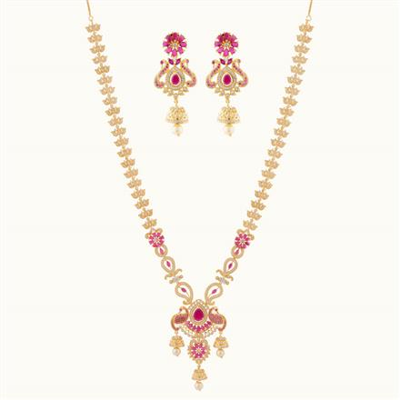 50802 CZ Peacock Necklace with gold plating