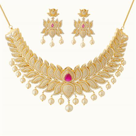 50803 CZ Mukut Necklace with gold plating