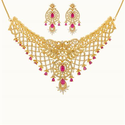 50804 CZ Mukut Necklace with gold plating