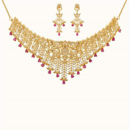 50805 CZ Mukut Necklace with gold plating