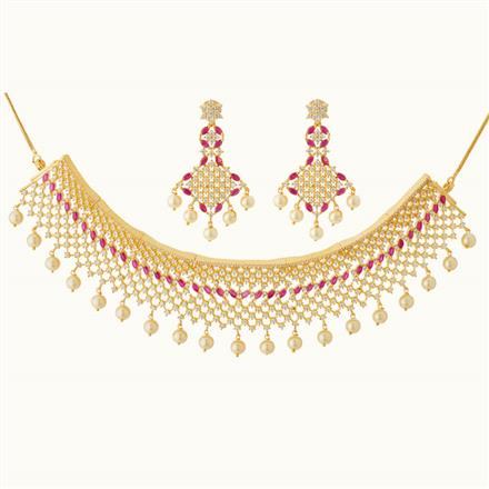 50806 CZ Mukut Necklace with gold plating