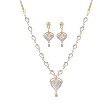 50888 CZ Delicate Necklace with 2 tone plating