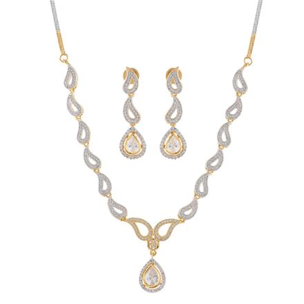 50893 CZ Delicate Necklace with 2 tone plating