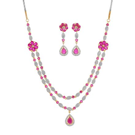 50894 CZ Side Pendant Necklace with 2 tone plating