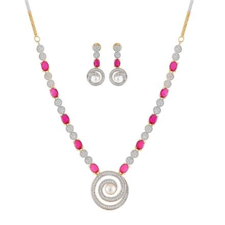 50895 CZ Classic Necklace with 2 tone plating