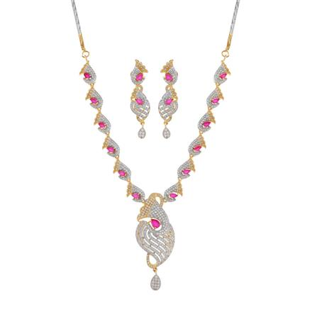 50902 CZ Classic Necklace with 2 tone plating