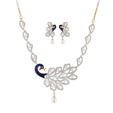 50906 CZ Peacock Necklace with 2 tone plating