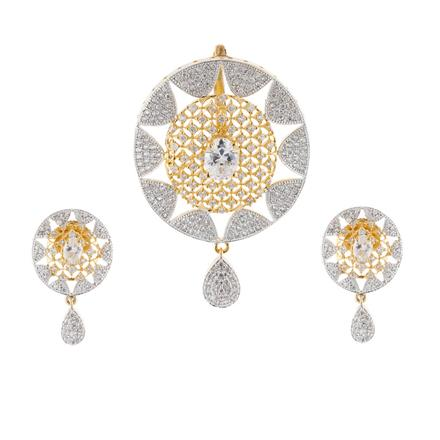 50915 CZ Classic Pendant Set with 2 tone plating