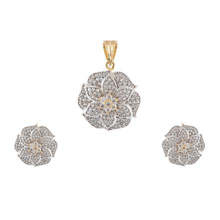 50916 CZ Delicate Pendant Set with 2 tone plating