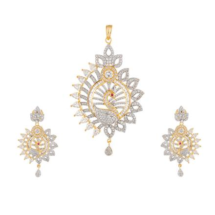 50917 CZ Peacock Pendant Set with 2 tone plating