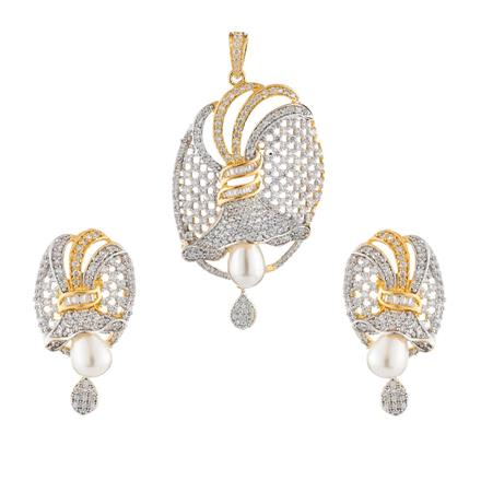 50918 CZ Classic Pendant Set with 2 tone plating