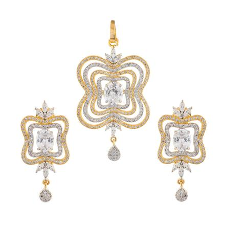 50920 CZ Classic Pendant Set with 2 tone plating