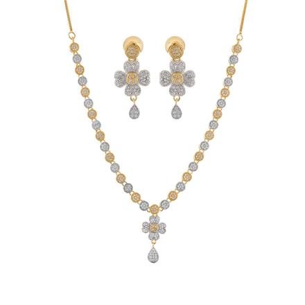 50995 CZ Delicate Necklace with 2 tone plating