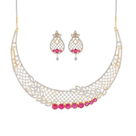 50997 CZ Classic Necklace with 2 tone plating