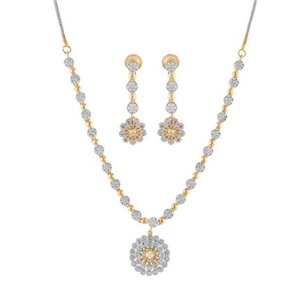 51001 CZ Delicate Necklace with 2 tone plating