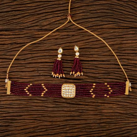 510026 Kundan Choker Necklace With Gold Plating