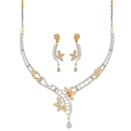51004 CZ Classic Necklace with 2 tone plating
