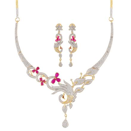 51005 CZ Peacock Necklace with 2 tone plating