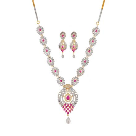 51016 CZ Classic Necklace with 2 tone plating
