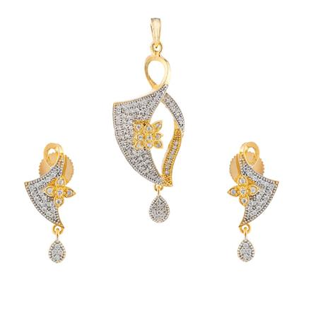 51023 CZ Delicate Pendant Set with 2 tone plating