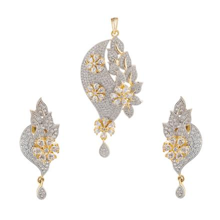 51024 CZ Classic Pendant Set with 2 tone plating