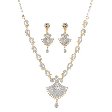 51045 CZ Delicate Necklace with 2 tone plating