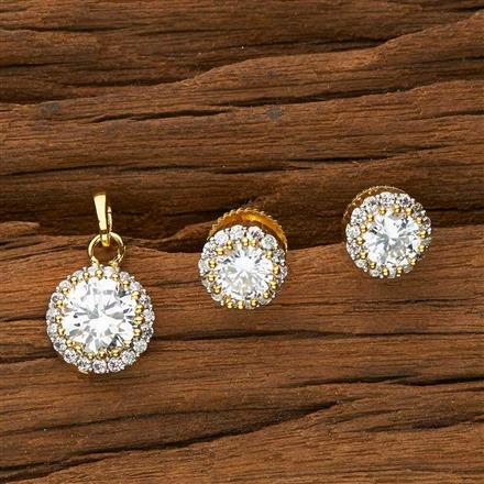 51084 CZ Delicate Pendant Set with 2 tone plating