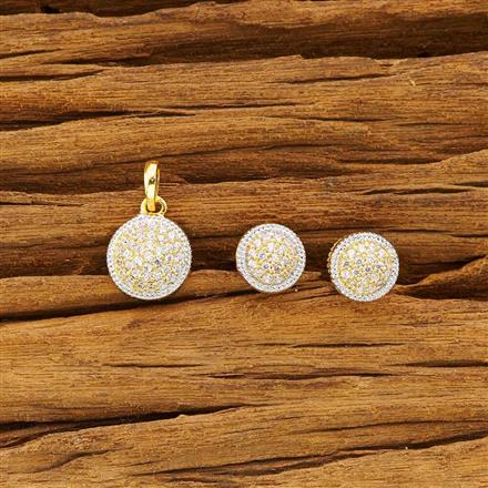 51527 CZ Delicate Pendant Set with 2 tone plating