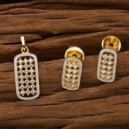 51533 CZ Delicate Pendant Set with 2 tone plating