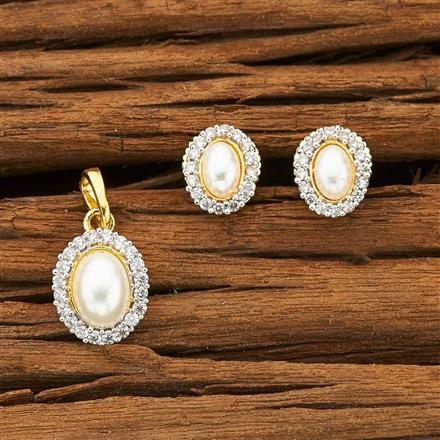 51539 CZ Delicate Pendant Set with 2 tone plating