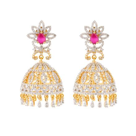 51607 American Diamond Jhumki with 2 tone plating