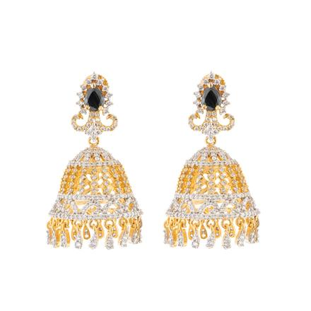 51608 American Diamond Jhumki with 2 tone plating