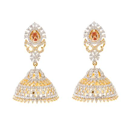 51609 American Diamond Jhumki with 2 tone plating