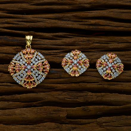 51635 CZ Classic Pendant Set with 2 tone plating