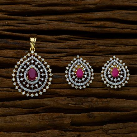 51639 CZ Classic Pendant Set with 2 tone plating