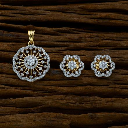 51642 CZ Delicate Pendant Set with 2 tone plating