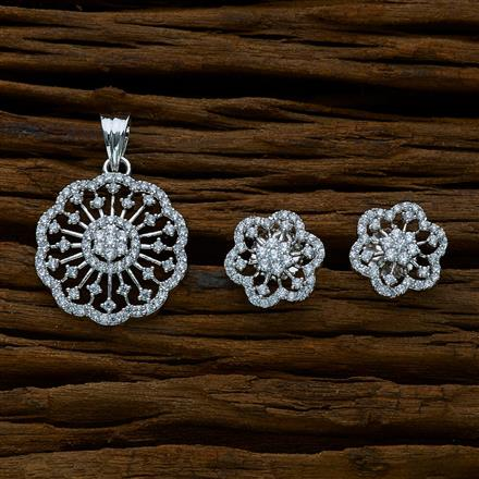 51643 CZ Delicate Pendant Set with rhodium plating