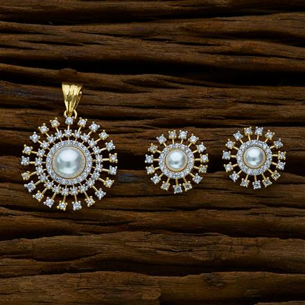 51646 CZ Classic Pendant Set with 2 tone plating